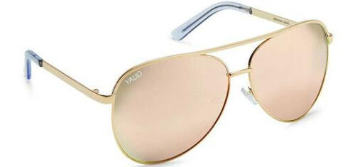 NEW QUAY Vivienne Gold/Rose Mirror Sunglasses