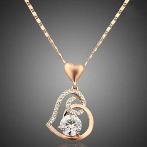 women love heart chain necklace crystal 18k