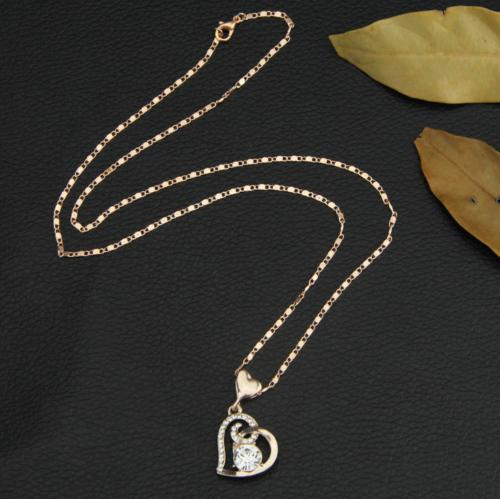 Women Heart Chain Necklace Gold