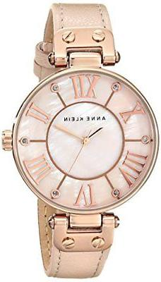 ANNE KLEIN WOMEN'S 10/9918RGLP ROSE GOLD-TONE WATCH WITH LEA