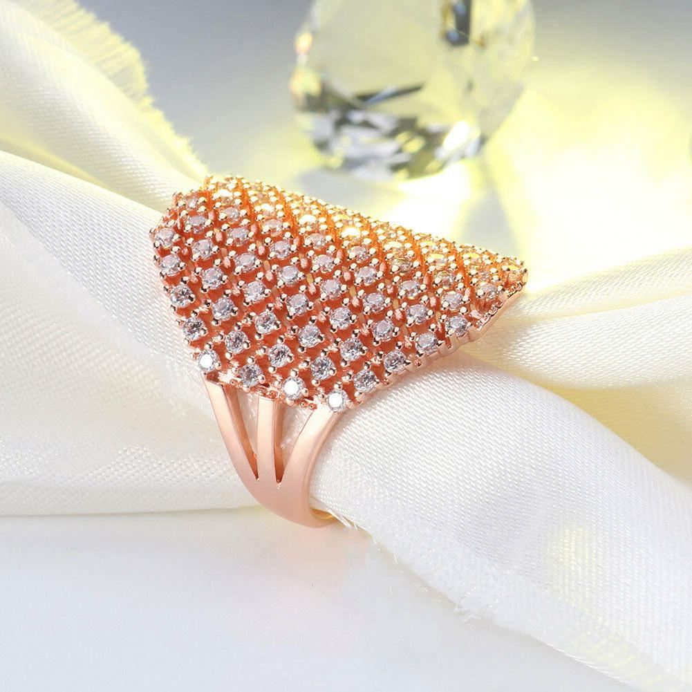Women's Crystal Silver Gold Band Ring Cocktail