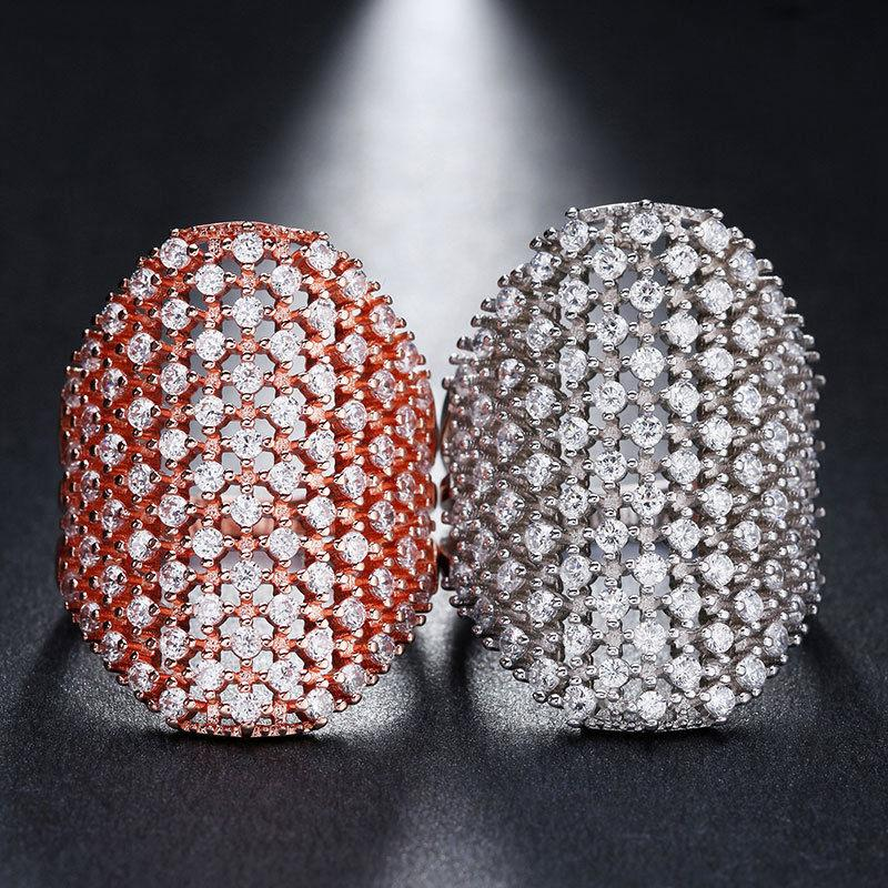 Women's Crystal CZ Silver Rose Band Ring