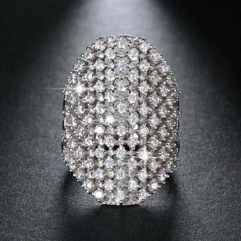 women s crystal cz cluster silver rose