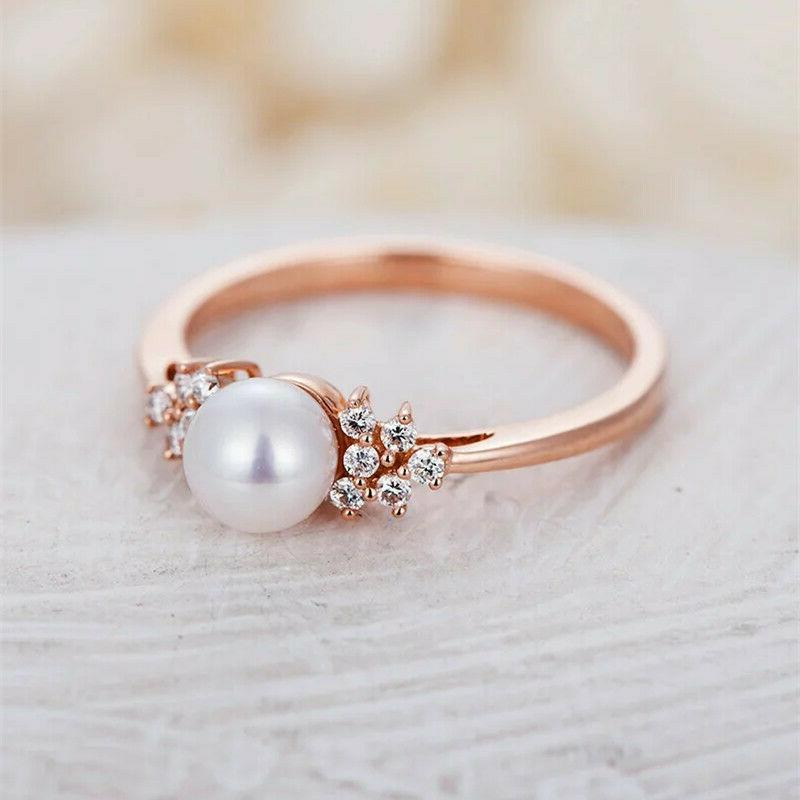 Women's Pearl Gold Ring Rings 6-10