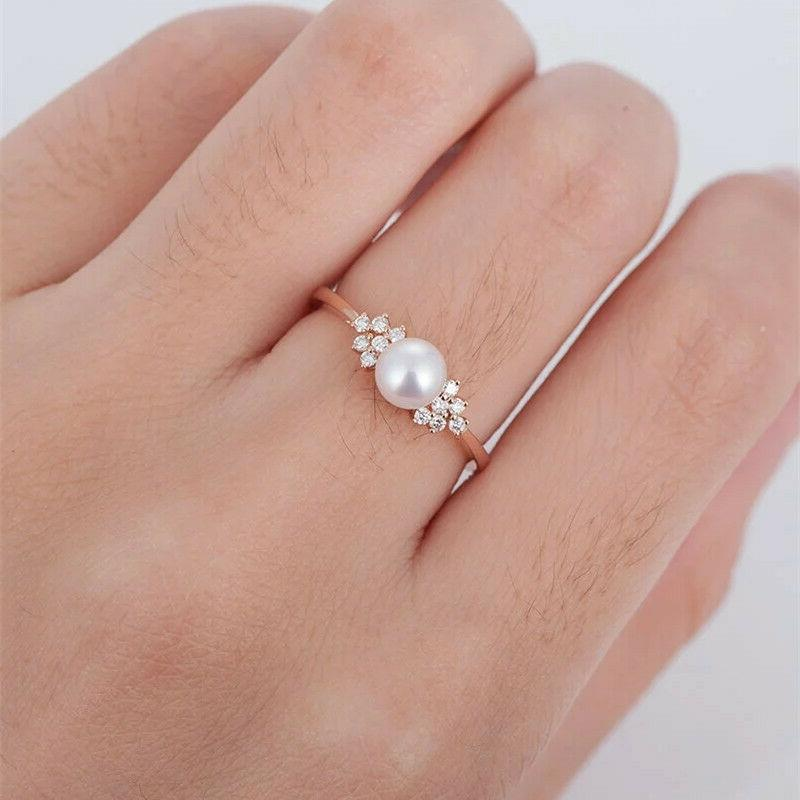 women s crystal pearl rose gold ring
