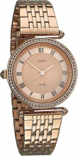 Fossil Women's ES4711 Lyric 32mm Rose Gold Dial Stainless St