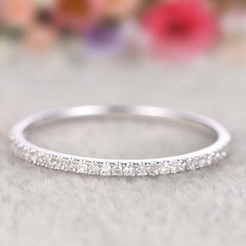Women's Jewelry Rose Gold Single Row Diamond Ring Stackable