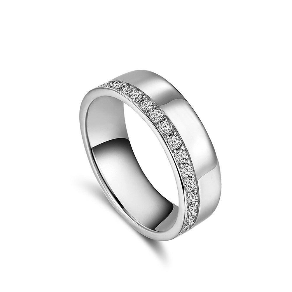 Women's Lady CZ Eternity Engagement Wedding Band Ring Silver