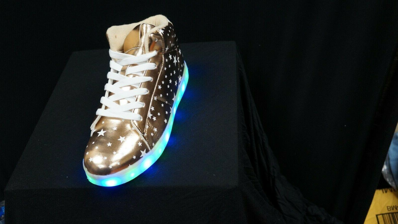 Forever Link Women's led-03 Lace Up LED Rechargeable Sneaker