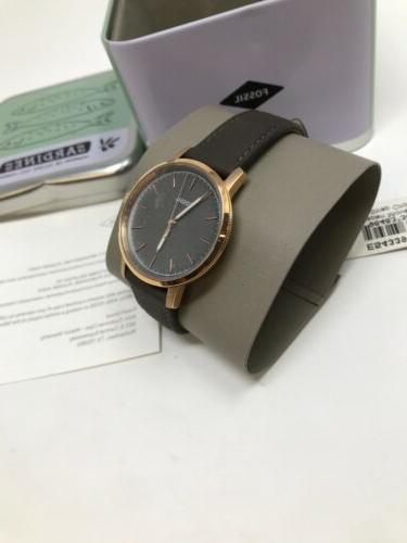 Fossil Neely Grey Leather Strap Rose Tone