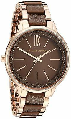 Anne Klein Women's Resin Bracelet Dress Watch Brown/Rose Gol
