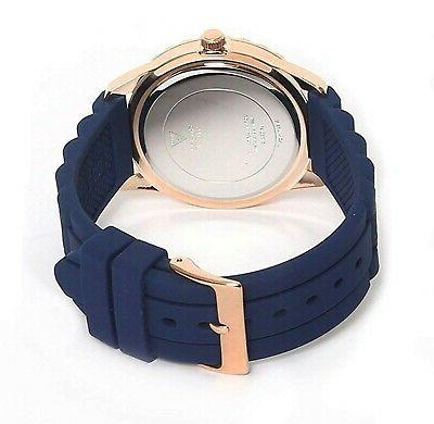 Guess Rose Gold Tone Stainless Steel Blue Rubber Quartz Watch