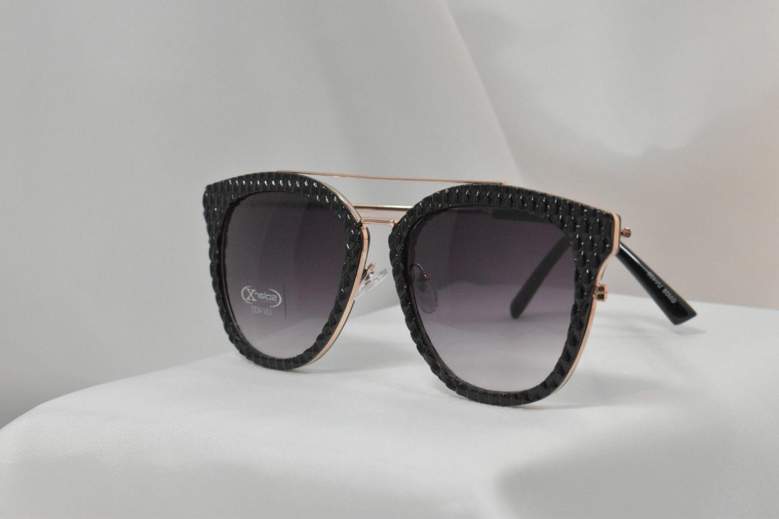 Women's Sunglasses BLACK Textured Frames with Rose Gold Wire