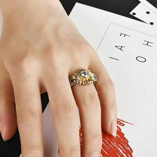 Women Sunflower Silver Gold Ring Plated Promise Wedding