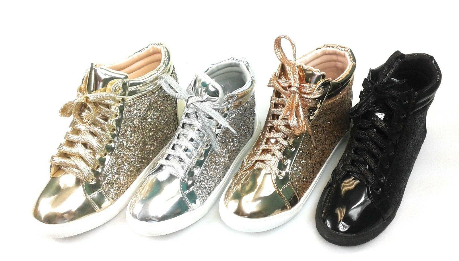 Womens Glitter Lace up Comfortable High Top Sneakers Forever