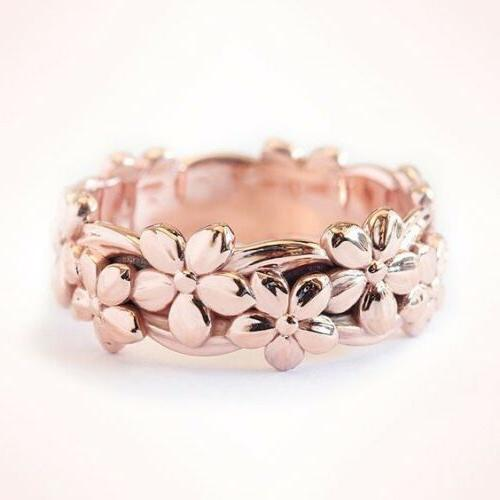 Womens Rose Silver Floral Band Wedding Jewelry 6-10