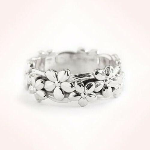 Womens Gold Silver Floral Flower Band Wedding Rings Jewelry 6-10