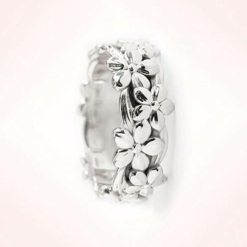 Womens Gold Silver Floral Flower Wedding Jewelry Size 6-10