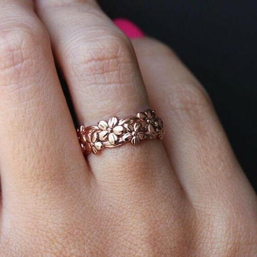 Womens Rose Gold Floral Flower Band Wedding 6-10