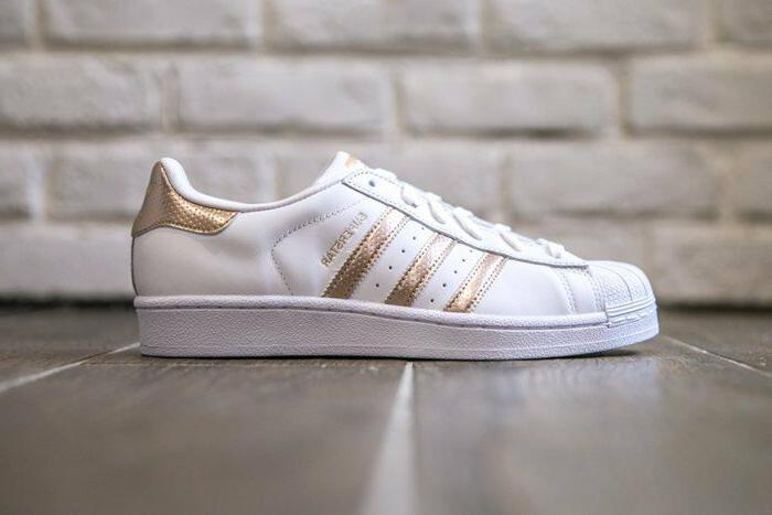 Womens Adidas Superstar Rose Gold Copper White Black Shell T