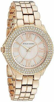 Anne Klein Womens Swarovski Crystal Accented Rose Gold-Tone