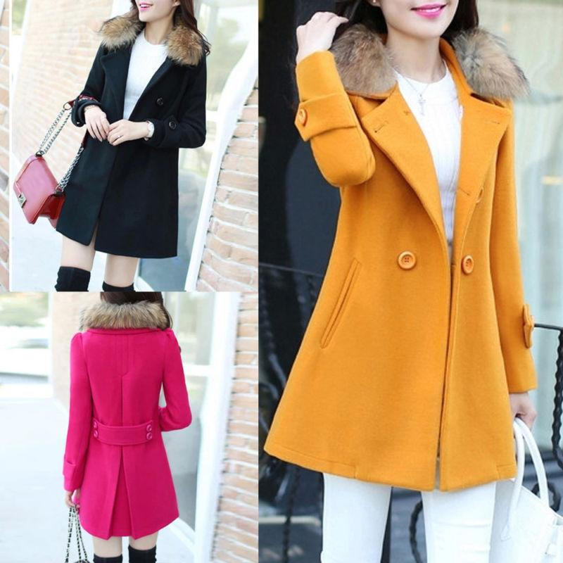 womens warm jacket fur collar casual outwear