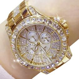 Ladies simulate Diamond Watch Gold Plated Women Luxury Fashi