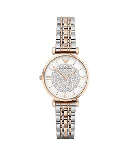 New Emporio Armani Classic Rose Gold White Silver Pave Women