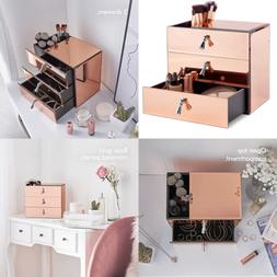 Beautify LARGE Mirrored Glass ROSE GOLD Cosmetic Makeup Jewe