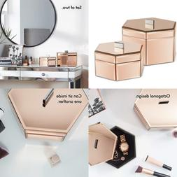 Beautify LARGE Octagon Mirrored ROSE GOLD Glass Jewelry Box