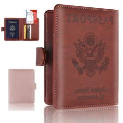 Leather RFID Blocking USA Passport Cover ID Credit Cards Hol