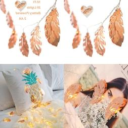 LED String Lights W ROSE GOLD Feather Copper Metal 10 Ft 20