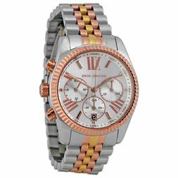 Michael Kors Lexington Tri-Tone Rose Gold Silver Chronograph