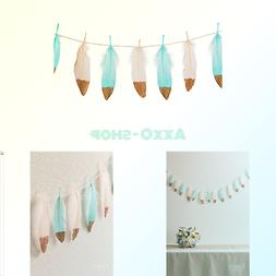 Ling's moment 10FT Feather Garland Rose Gold Glitter Dipped