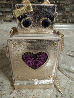 Betsey Johnson Love Machine. Rose Gold Purse kitsch cute rob