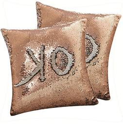 DECOSY Magic Free Drawing ! Mermaid Sequin Throw Pillow Cove
