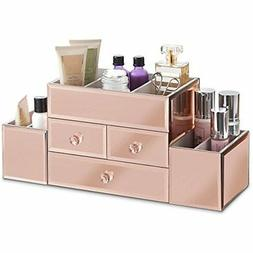 Beautify Makeup Organizers Large Mirrored Rose Gold Glass Je
