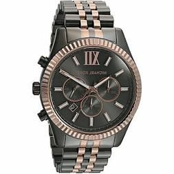 Michael Kors Man's MK8561 Lexington Grey Aad Rose Gold Stain