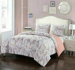 Pop Shop Marble Comforter Set, Twin, Rose Gold