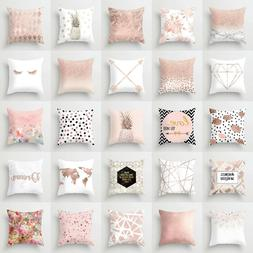 Marble Rose Gold pink throw pillow Case Covers sofa car cush