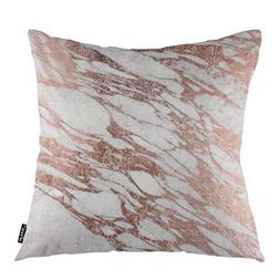 oFloral Marble Throw Pillow Covers Rose Gold Rock Stone Surf