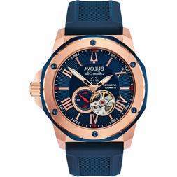Bulova Marine Star Mens Rose Gold Plated Stainless Automatic