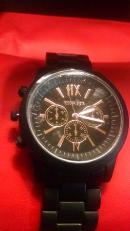 Steve Madden Men's Black & Rose Gold Multifunction Dial Blac