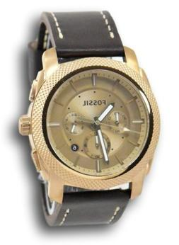 Fossil Men's FS5075 Machine Rose Gold Chronograph Brown Leat