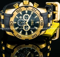 Invicta Men's Pro Diver Chrono Gold Plated S. Steel Black Si