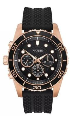 Bulova Men's Quartz Chronograph Rose Gold Case Black Band 44
