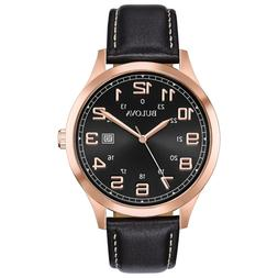 Bulova Men's Quartz Rose Gold Tone Case Black Leather Strap