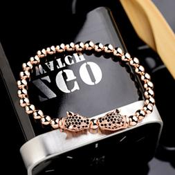 Men's Rose Gold Leopard Beads CZ Panther Braided Macrame Cop