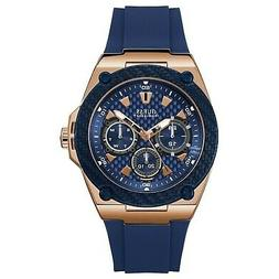 Guess Men's Rose Gold Tone Stainless Steel & Blue Rubber Wat