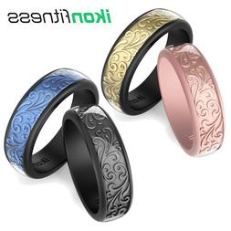 Men Women's Silicone Wedding Ring Rubber Bands Sculptured Fl